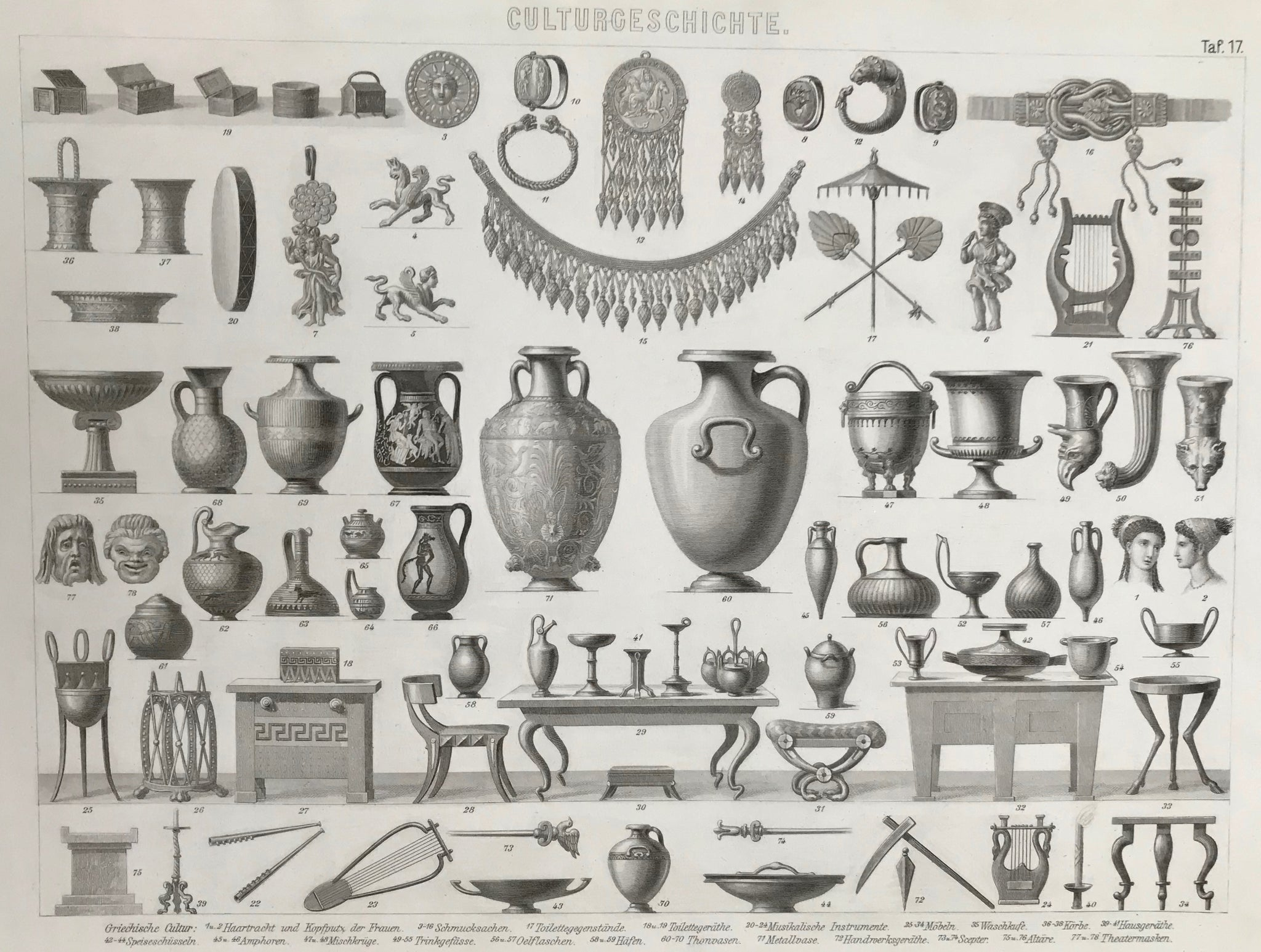 Culturgeschichte (Cultural History) Ancient Greeks  Steel engraving ca 1860. Published by Brockhaus in Leipzig.