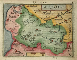 """Artois"". Copper etching in modern coloring from the pocket atlas by A. Ortelius. Antwerp, ca 1580.  In the center of the map is Pernes and St. Paul with Arras towards the lower right. In the upper left is Calais and in the lower right Chambray. Text on backside in French about Namur."