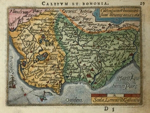 """Caletum et Bononia"". Copper etching in modern coloring from the pocket atlas by A. Ortelius. Antwerp, ca 1580.  This map is east oriented. (East is at the top, north on the left side.) In the upper left is a bit of Flanders. Near the decorative sailing vessel in the lower left is Calais. At the top of the map is La Vernol and Lobingen. On the backside is text in French about the region of Vermandois."
