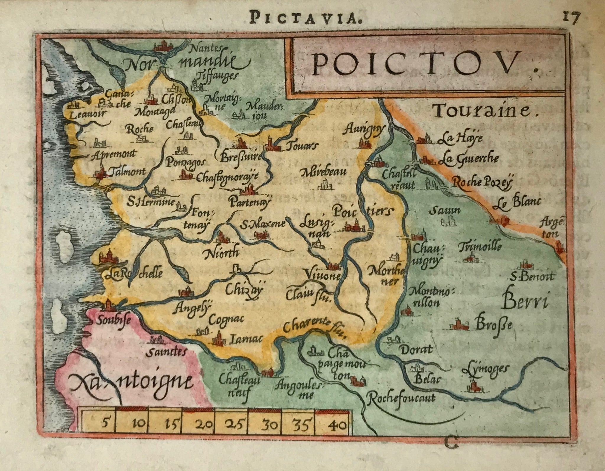 "France, map, ""Poictou"". Copper etching in modern coloring from the pocket atlas by A. Ortelius. Antwerp, ca 1580.  In the upper left is Nantes and a bit of Normandy. On the left side jalf-way down is La Rochelle and in the lower right is the region of Berri. Text on backside about Bretagne."