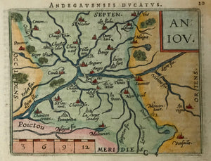 """Aniou"" (Angers) Copper etching in modern coloring from the pocket atlas by A. Ortelius. Antwerp, ca 1580.  Map centered around Angers on the Loire River."