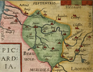 """Picardia"" Copper etching in modern coloring from the pocket atlas by A. Ortelius. Antwerp, ca 1580.  In the upper right is Chambry and near the center is Amiens. On the backside is text (in French) about Germany."