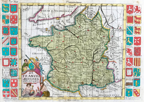 """La Francia Moderna...."" Copper engraving from an Italian source, ca 1720. Modern hand coloring.  The coats-of-arms on both sides of this French map catch our eye at once. They represent the various regions of France. The map shows the old regions of France as well as the major towns and cities of the time."