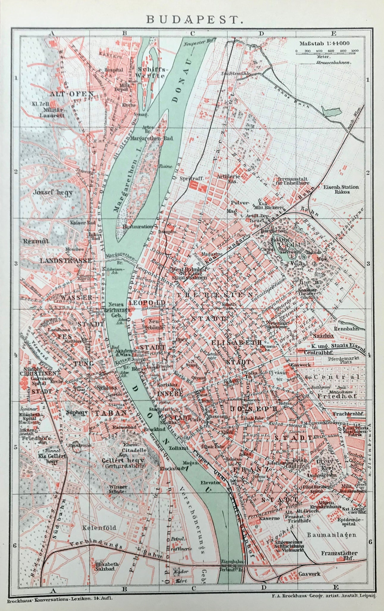 "Hungary, ""Budapest""  Engraving printed in color, 1894. On the reverse side is a street and monument key list shown on the map. Interest plan of Budapest showing the major institutions and monuments of the time"