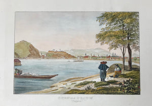 "Hungary, ""Ofen und Pesth"" Ungarn  Lithograph. Anonymous, ca 1860. Modern hand coloring. Wide margins"