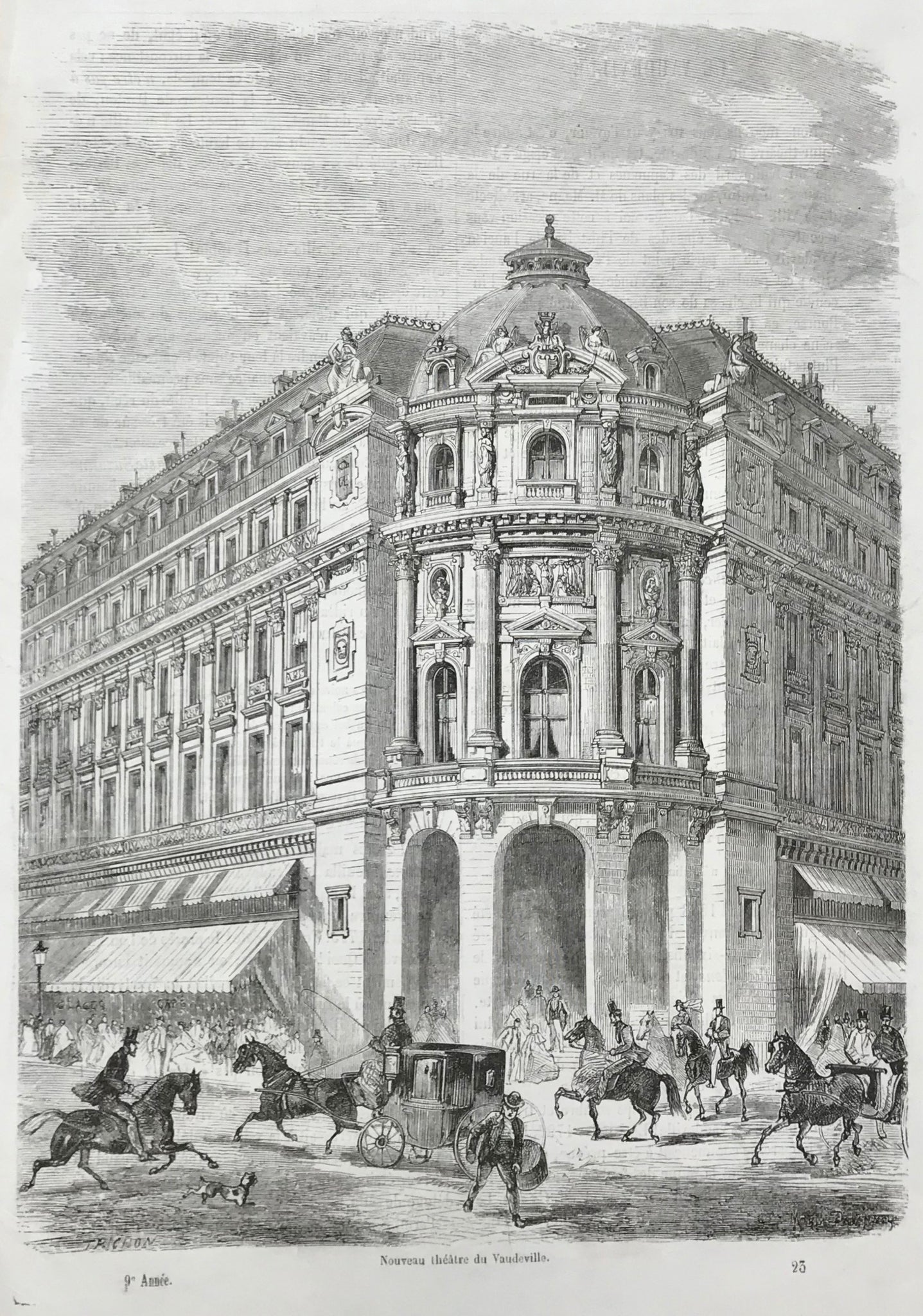 """Nouveau theatre du Vaudville""  Wood engraving published 1867. On the reverse side is text (in French) about the Vaudeville Theater."