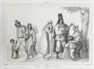 Hungary, Paysans et Payesanes Hongrois Steel engraving by Lemaitre after Vernier ca 1845.