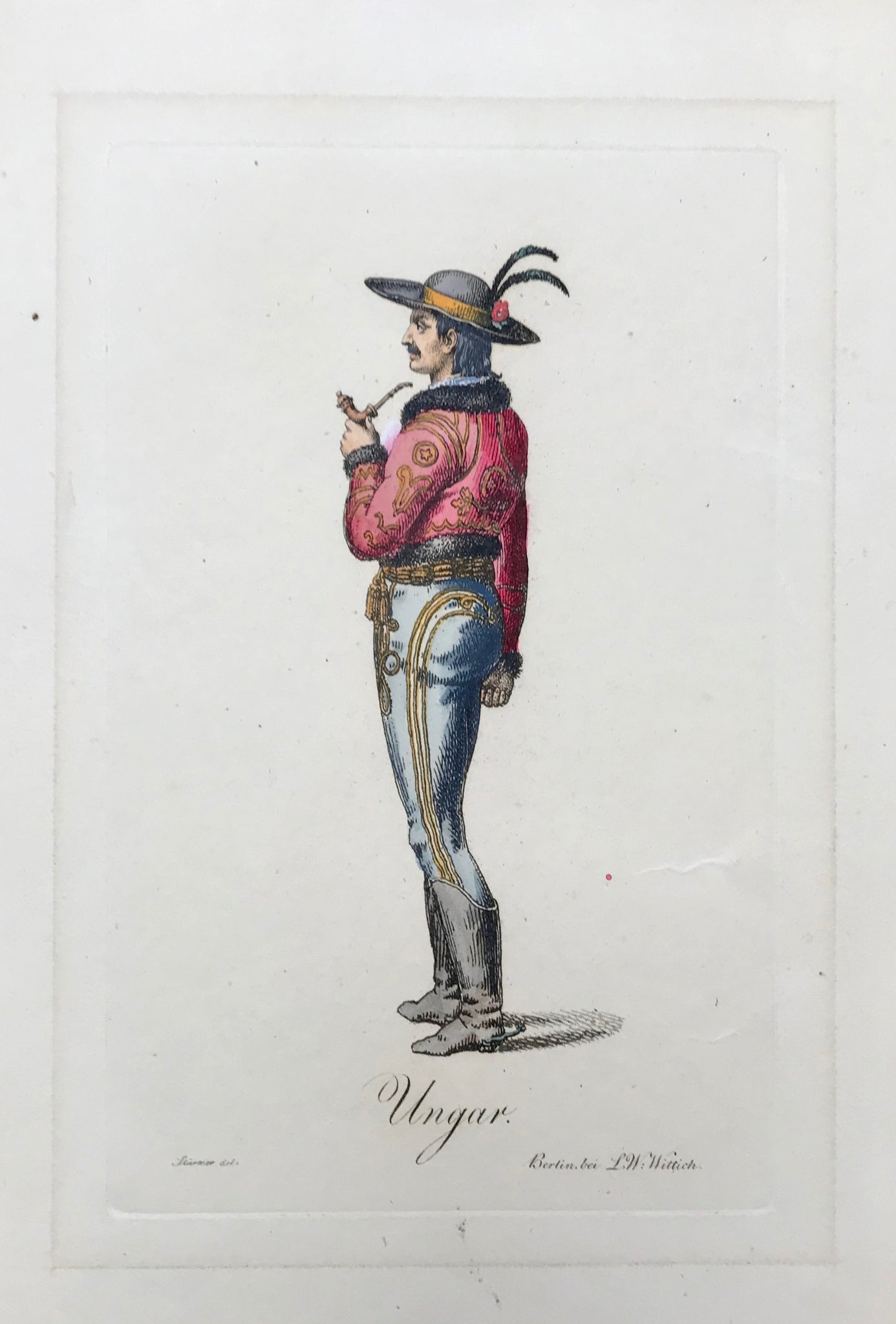 Ungar  Stipple-line engraving by Bertini after Stuermer, 1822. Original hand coloring.