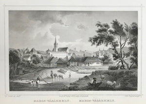 Hungary, Maros - Vasarhely  Steel engraving by Johann Poppel after L. Rohbock ca 1850.