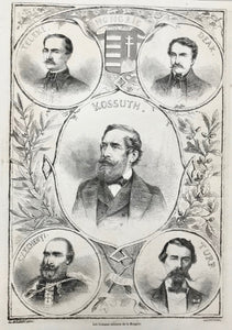 "Hungary: ""Les hommes celebres de la Hongrie""  Teleki, Deak, Kossuth, Szecheny, Turr  Wood engraving by L. chapon after E. Bocourt ca 1875. Reverse side is printed."