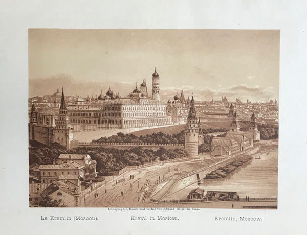 """Le Kremlin ( Moscou ) Kremel in Moskau. Kremlin, Moscow""  Anonymous lithograph printed in a very pleasant sepia tone. Published 1889. Included is an extra page of text in German about the Kremlin."
