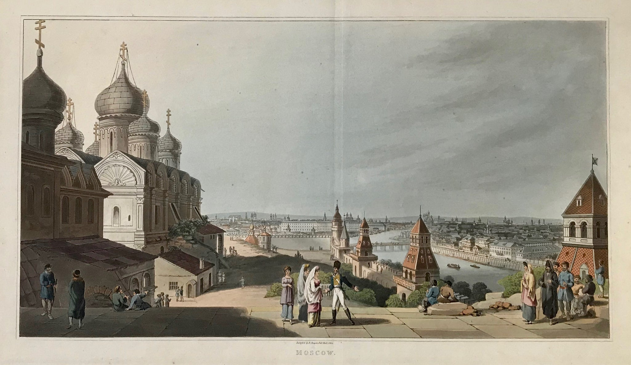 """Moscow"".  Type of print: Aquatint  Color: Finely executed original hand coloring  Publisher: Robert Bowyer (1758-1834)  Where / When: London, aquatints is dated 1814. Publication: 1816  Published in: ""An illustrated Record of important Events during the years 1812-1815""  A very attractive, beautifully hand-colored panoramic view of Moscow. The Kremlin left foreground."