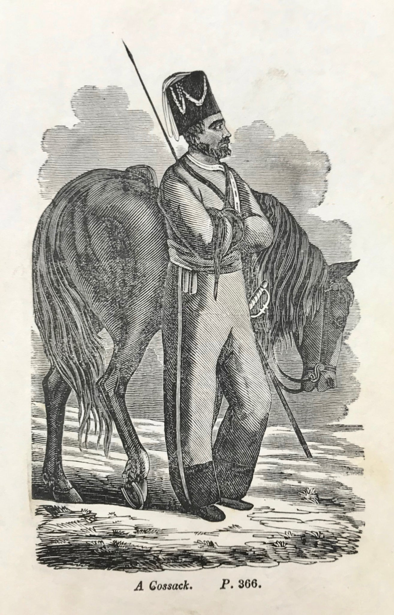 "Ukrainia, ""A Cossack.""  Wood engraving ca 1870."