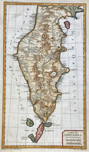 """Carte du Kamtchatka"" (Kamchatka)  Copper etching by Laurent. Published by by Jacques-Nicolas Bellin in his ãPetit Atlas"". Paris 1764. Very good recent hand coloring.  Map shows in detail the Kamchatka peninsula together with the northernmost Kuril islands with both, their Russian and their Japanese names."