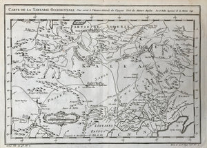 "Russia, Cina,  ""Carte De La Tartarie Occidentale Pour servir a l'Histoire Generale des Voyages."" Copper etching by Bellin dated 1749.  In the center of the map is Lake Kurahan Ulan, the scene of the siege of Karakum ou Kuran. In the north is part of Siberia. In the lower right is part of China with Peking and the Golfe of Lyau-tong."