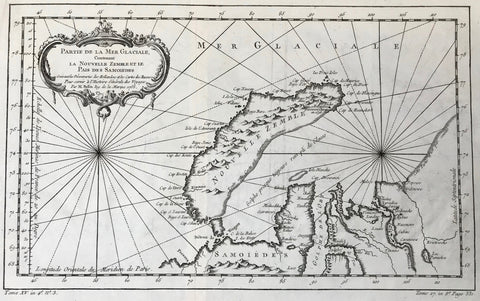 """Partie de la Mer Glaciale Contenant la Nouvelle Zenble et le Pais et le Pais des Samoides"". Copper etching by Nicolas Bellin. Dated 1758.  Detailed area of the Russian Arctic Sea. Kara Sea and Obi Gulf."