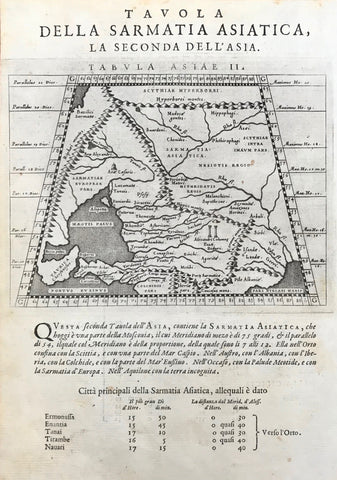 """Tavola Della Sarmatia Asiatica, La Seconda Dell'Asia"" (Second Ptolemy map of Asia"")  Copper etching after Claudius Ptolemaeus published in ãGeografia cioe Descrittione Universale della Terra"" Gio. Battista & Giorgio Galignani Fratelli. Venice, 1598  First edition in Italian prepared by Giovanni Antonio Magini (1555-1617)  Map shows Caucasus region north of the the Black Sea and east of the Sea of Asov which is Southern Russia a small part of Georgia."