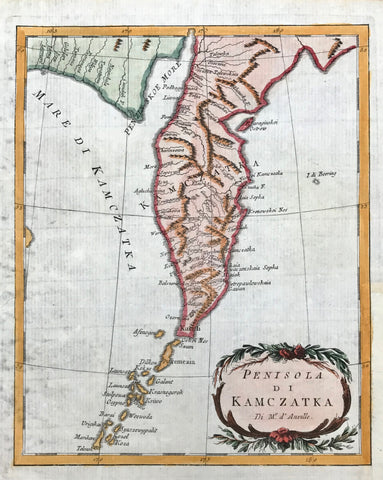 "Map, Russia, ""Peninsola di Kamczatka""  Copper engraving by Jean Baptiste d`Anville a 1750. Attractive hand coloring."
