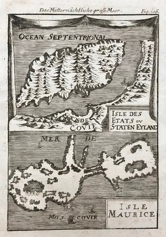 Russia, Das Mitternaechtliche grosse Meer. - Isle Des Etats ou Staten Eyland. - Isle Maurice.  Copper engraving by Allain Amallet, 1719. Shows the islands to the north of Lapland and Russia.