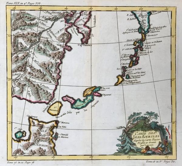 """Carte des Isles Kouriles d'apres la Carte Russe."". Copper engraving by Laurent for Bellin ca 1760. Fine, recent hand coloring. In the upper right ispart of the Kamchatka Peninsula with the Kuril Islands below. Southwest of the Kurils are the islands northern Japan. In the upper left is part of Sakhalin and the mouth of the Amur River."