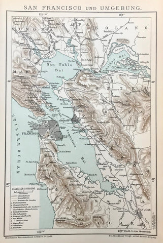 """San Francisco und Umgebung"" (Sanfrancisco and surrounding area)  This print of the area around San Francisco was published 1895. The lines show the railway and ferry routes of the time. The county borders are shown."