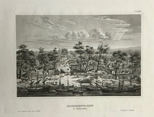SACRAMENTO CITY.  Steel engraving from the Bibliograph. Institut in Hildburghausen ca 1845.