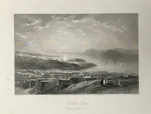 San Francisco, Golden Gate (From Telegraph Hill)  Fine steel engraving by E.P. Brandard after Jas. D. Smilie, 1873.