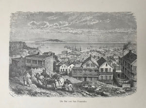 USA, Die Bai von San Francisco.  Wood engraving ca 1880.