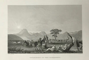 "USA ""Encampment on the Sacramento""  Fine steel engraving by J.W. Steel after A.T. Agate, 1845."