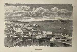 """San Francisco""  Wood engraving printed in light beige on white background 1877."