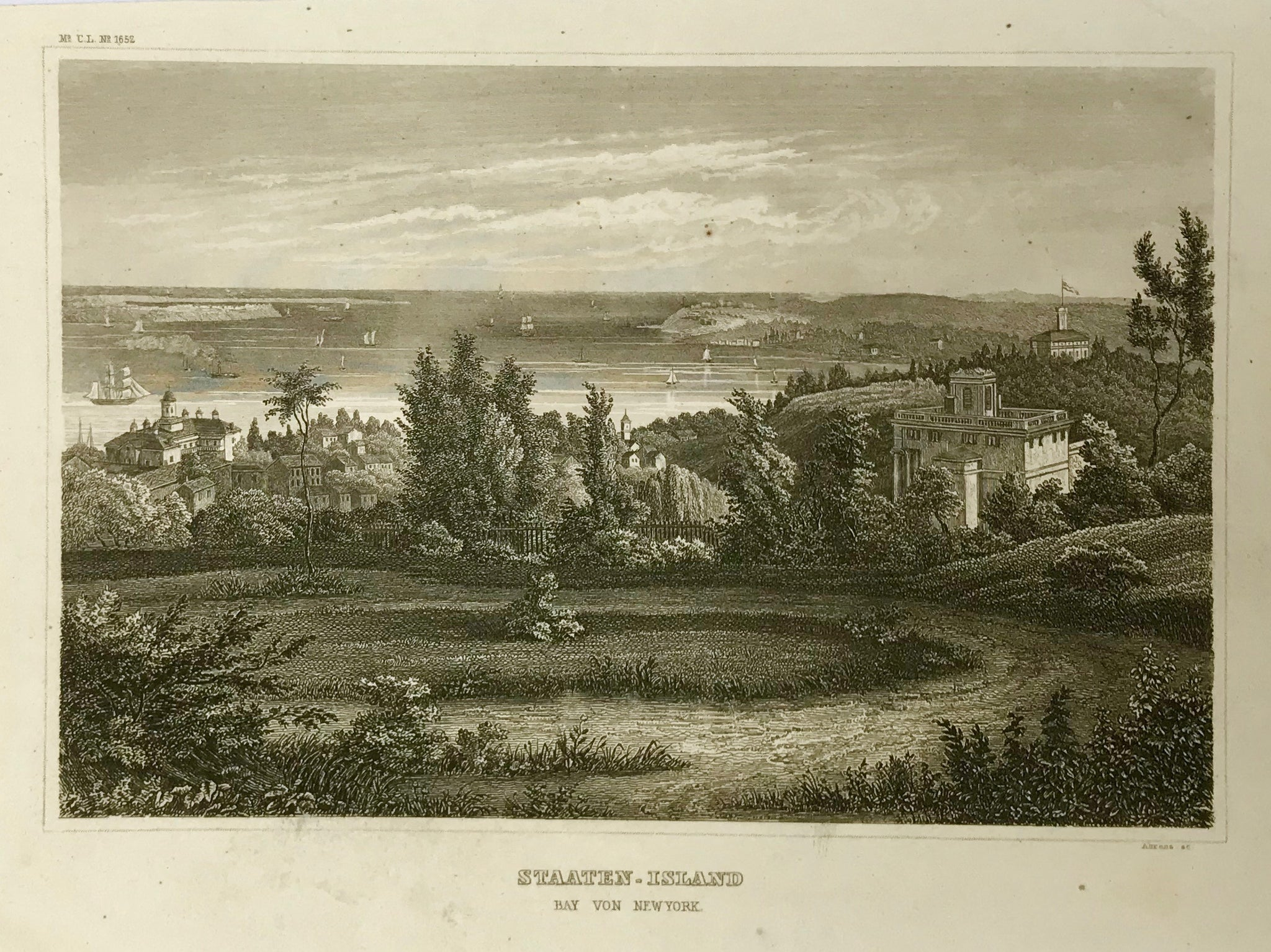 """Staaten Island"" ""Bay von New York""  Steel engraving by Ahrens ca 1860."