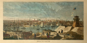 Baltimore from Federal Hill.  Wood engraving from an illustrated work ca 1875. Pleasant recent hand coloring.