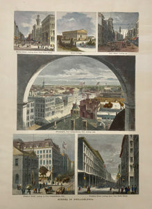 """Scenes in Philadelphia"".  6 views of Philadelphia on one page. Anonymous wood engravings. Ca. 1880..  ""Market Street looking down from 6th Street"". ""Girard College"". ""Arch Street looking up"". ""Philadelphia from Independence Hall, looking east"". ""Chestnut Street looking up from Independence Hall"". Chestnut Street looking down from 9th Street""."