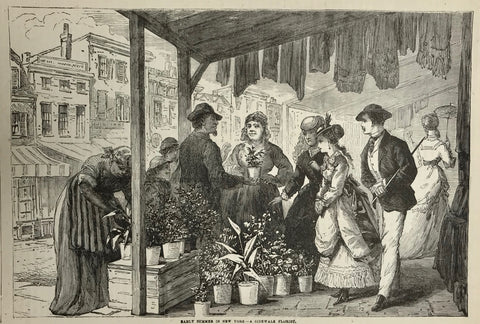 """Early Summer in New York, a Sidewalk Florist""  Wood engraving ca 1880."