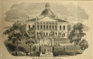 """View of the State House, at Augusta, Maine.""  Wood engraving ca 1870."