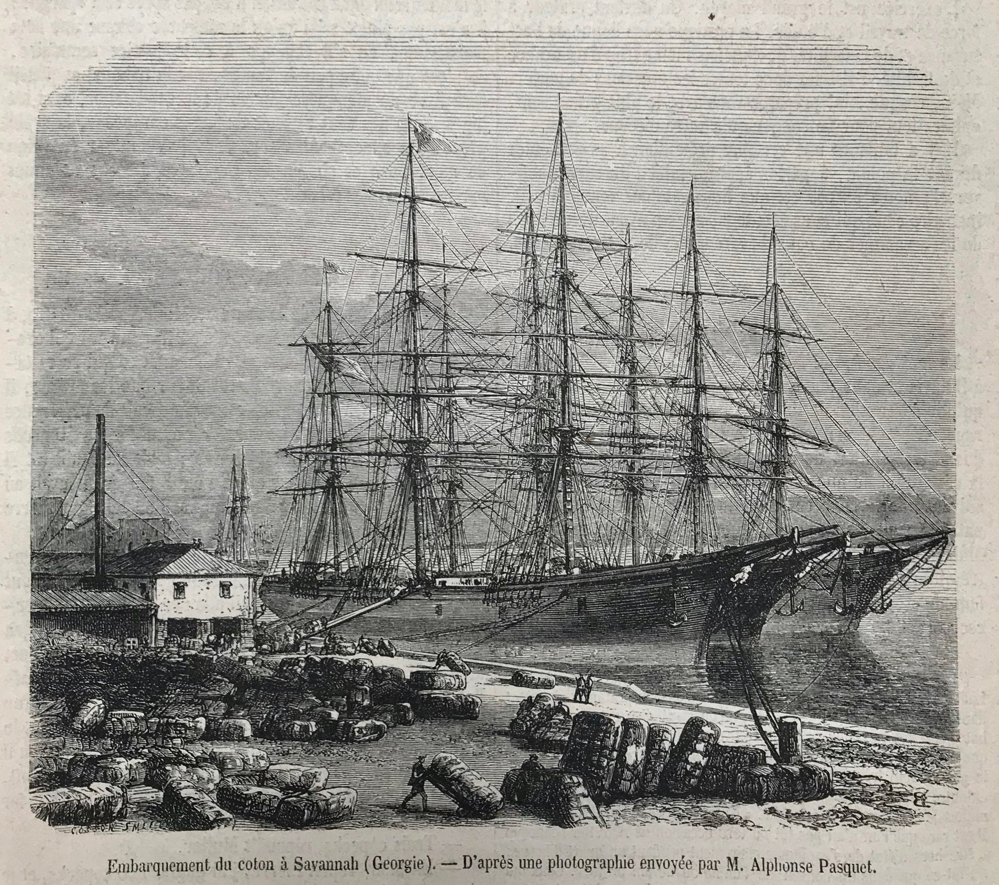 """Embarquement du coton a Savannah (Georgia)""  Wood engraving made after a photograph. Published ca 1870. Above and below the image is text about the cotton business and export. Reverse side is printed with unrelated text."