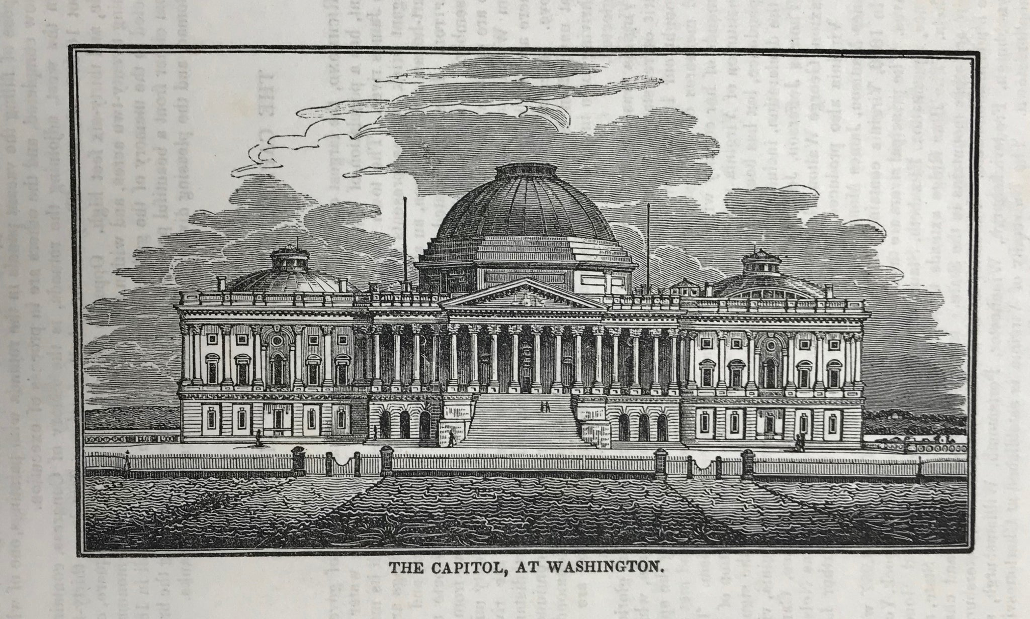 USA, The Capitol, At Washington  Wood engraving published 1855. Reverse side is printed.