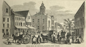 """Custom House and Post-Ofice, Charleston, South Carolina""  Wood engraving ca 1880."