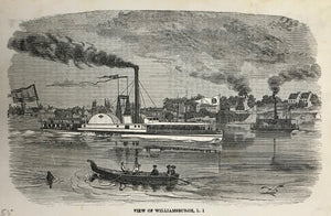 VIEW OF WILLIAMSBURGH.  Wood engraving 1855. Reverse side is printed.