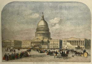 """The Capitol at Washington, United States"".  Anonymous pleasantly hand-colored wood engraving. Dated 1859."