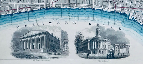 """Philadelphia""  At the bottom is the United States Bank and the Exchange. At the top is a bit of the Schuylkill River. Steel engraving printed by the ""Society for the Diffusion of Useful Knowledge"", 1840."