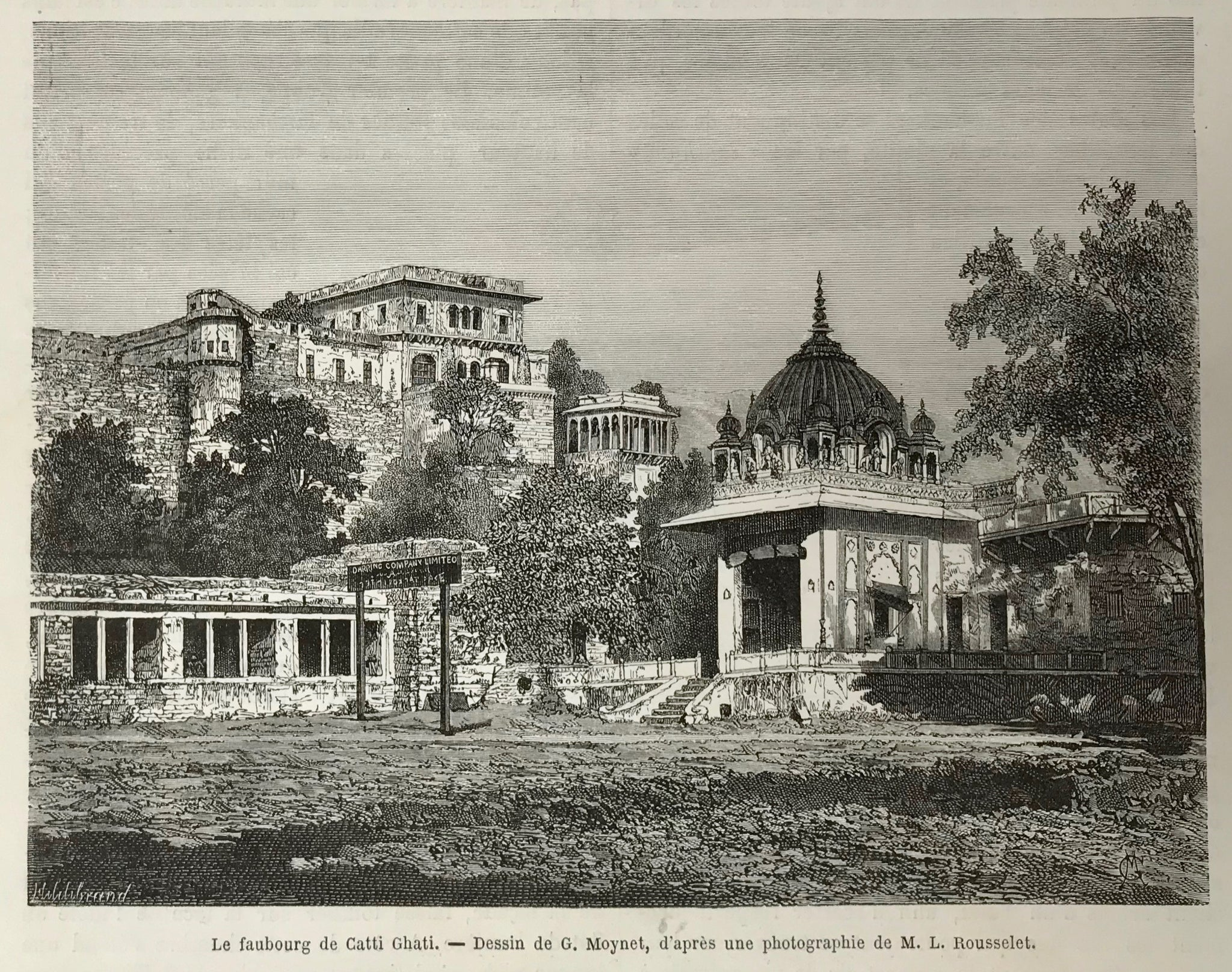 "India, ""Le faubourg de Catti Ghatti""  Wood engraving by Moynet after a photograph, 1872. Reverse side is printed."