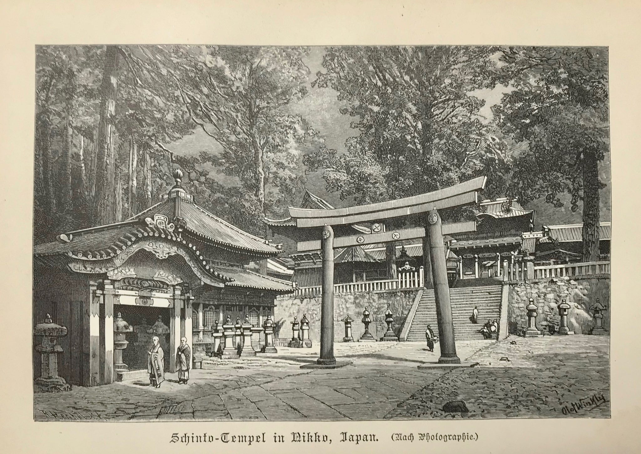 "Japan, ""Shinto-Tmpel in Nikko, Japan"" Wood engraving made after a photograph ca 1900. Very light age toning."
