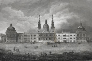 Kloster Mafra  Steel etching from the Bibliograph. Institut in Hildburghausen, ca 1850.