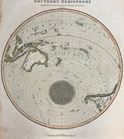 This very interesting map shows the southern hemisphere with the South Pole shown in sketchy form. Notice Australia and Southeastern Asia on the upper left side. In the upper right part of the map are the Sandwich Islands (Hawaiian Islands). On the lower right is the southern part of South America. Lines show the various exploration routes of early explorers.