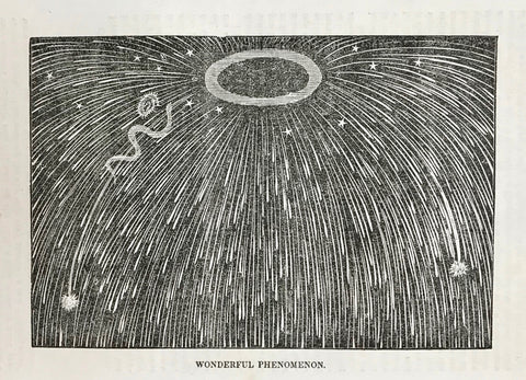 """Wonderful Phenomenon""  Wood engraving published 1844 of a fanciful sky with falling stars? meteors? On the reverse side is an article about the Harz Mountains."