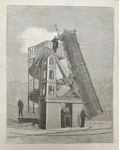 """Le Grand Telescope de L'Observatoire de Paris""  Wood engraving ca 1875. Reverse side is printed."