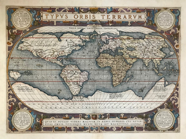 """Typus Orbis Terrarum""  World Map Ortelius. Reference: Shirley 158  This is the third version of the world map by Abraham Ortelius. It is easily recognised by the four medaillons with classical citations (2 by Cicero and 2 by Seneca). Below the signature of Ortelius the map is dated: 1587, although this map was used for the first time in his atlas only in the year 1592.  Type of print: Copper etching  Color: Original hand coloring  Author: Abraham Ortelius (1527-1598)"