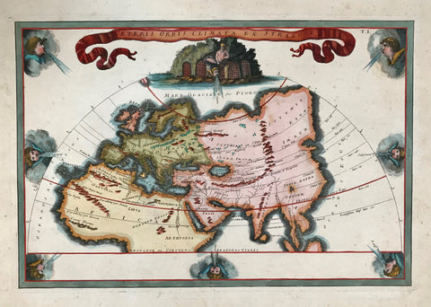 """Veteris Orbis Climata ex Strabone"". Copper etching of a Ptolemaic map initiated by Strabo and most likely published by Christopher Cellarius (1638 - 1707). Ca.1700.  The map, decoratad with a ribbon title and eight winds blowing from all directions, shows the ""Old World"" in which Strabo defined his assumptions of climatic regions on earth"