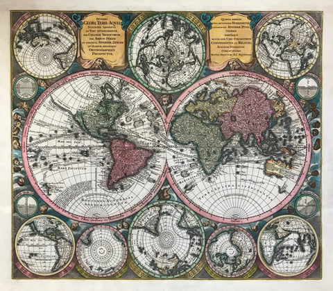 Originally hand-colored copper etching by Matthaeus Seutter (?-1757)  Augsburg, Germany, 1744  Very decorative world map with two hemispheres. These are surrounded by several globes. Clockwise from upper left: Southern hemisphere (South Pole) Australia showing- Northern hemisphere (Perpendicular from North Pole) - Northern hemisphere (oblique from North Pole) - The equator straight on - the equator oblique view - The Old World - Northern hemisphere perpendicular from North Pole
